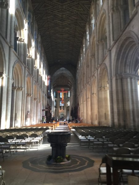 An interior shot of Peterborough Cathedral.