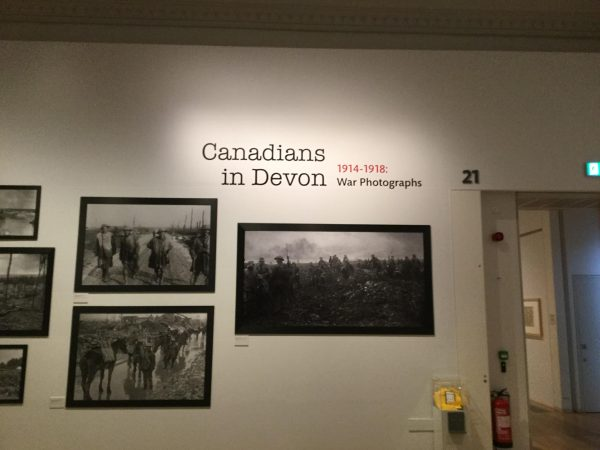 A picture of a display of photos of WWI Canadian soldiers in an