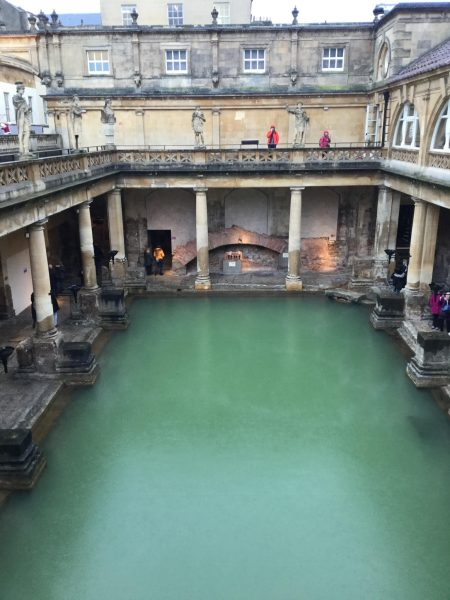 A photo of the interior of the Roman Baths.
