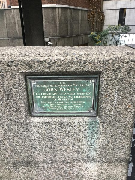 A photo of a plaque marking the spot of John Wesley's conversion.